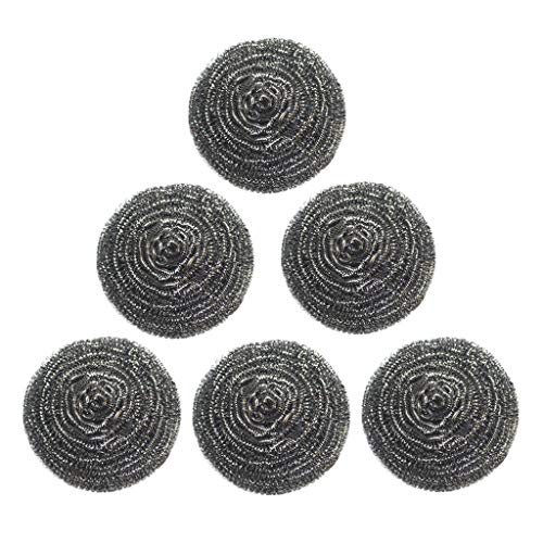 Ninasill Stainless Steel Scourers Sponges Scrubbers,6 Pack Extra Large Metal Scouring Pads Tackling for Tough Cleaning (Silver) from Ninasill Furniture