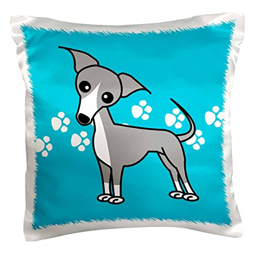 3dRose pc_12090_1 Cute Italian Greyhound Grey Blue Paw Print Background-Pillow Case, 16 by 16