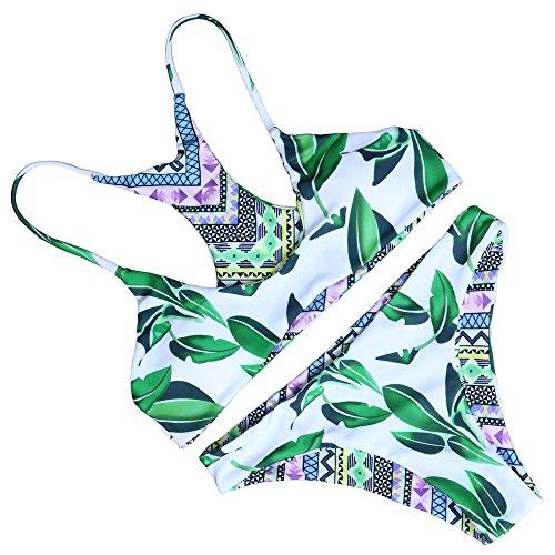 MOOSKINI Women's Green Leaves Printing Padding Bikini Set L One Bikini in Four styles