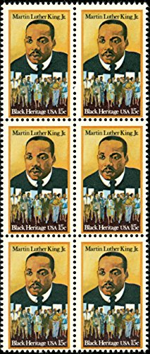 Martin Luther King Stamp (Martin Luther King Jr - Black History - #1771 - Block of 6 x 15¢ postage stamps)
