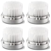 Replacement Luxe Facial Brush Head for Facial Skin Cleansing. Cashmere Cleanse. Compatible with All Clarisonic devices - MIA, MIA 2, ARIA, PRO and PLUS Cleansing Systems (4-Pack Brush Head)
