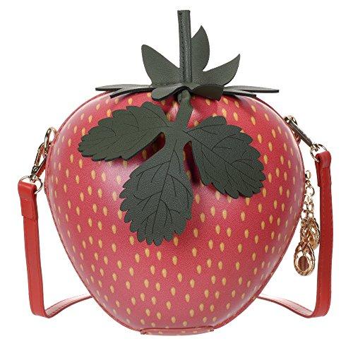 QZUnique Women's Cute Strawberry Shape Mini Bag Shoulder Bag Crossbody Bag Clutch Purse