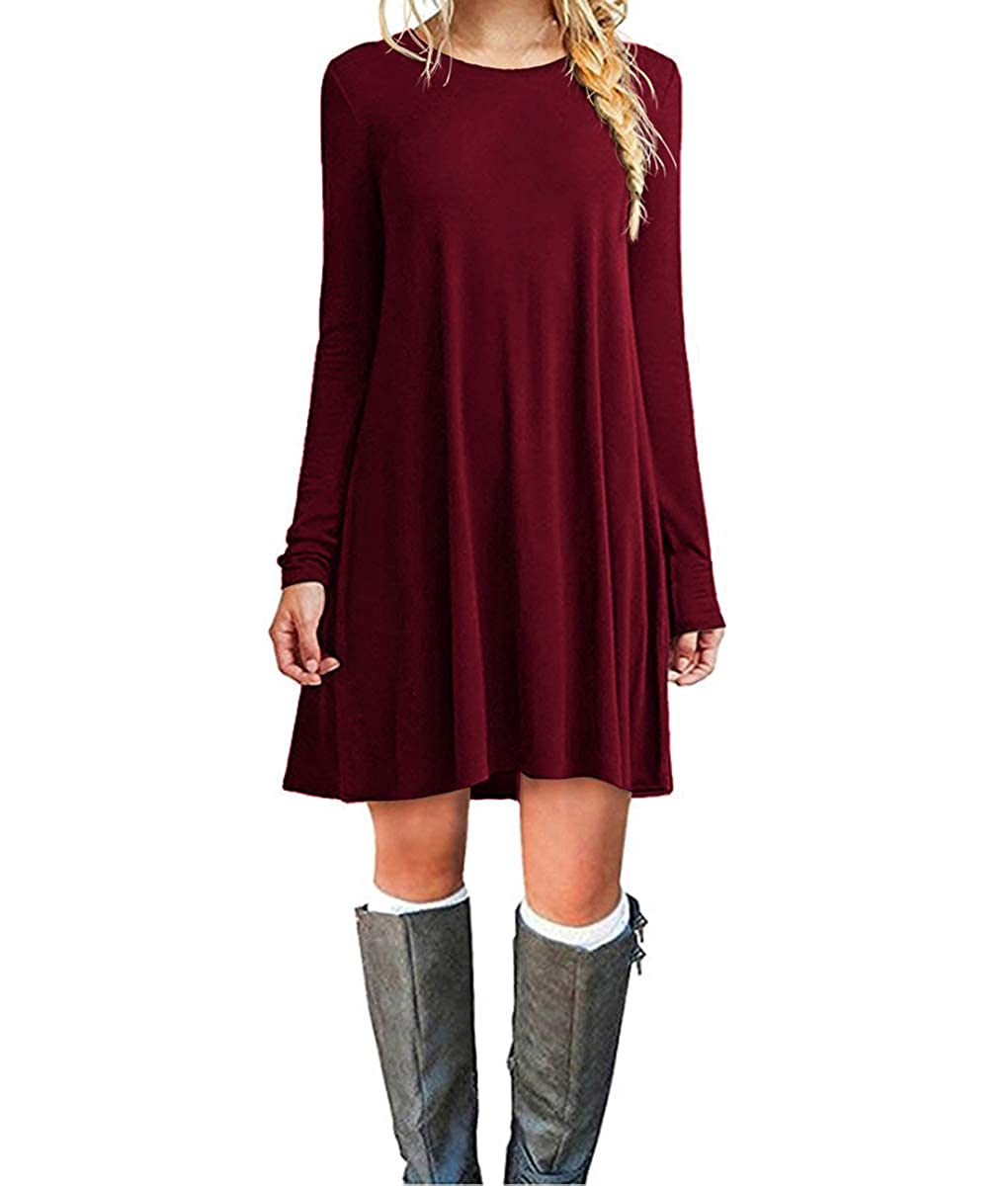 Cnokzol Women Long Sleeve Tunic Dress With Pockets Casual Loose