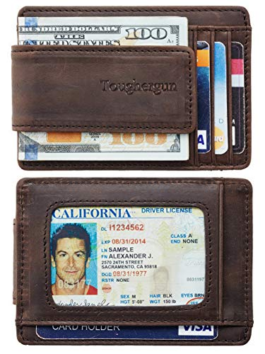 Toughergun Genuine Leather Magnetic Front Pocket Money Clip Wallet RFID Blocking (02 Crazy Horse Coffee)