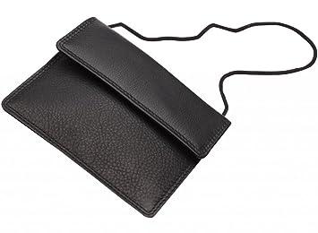 40a9fc9cbc50a Josephine Osthoff Handtaschen-Manufaktur Leder Brustbeutel Security -  schwarz - handgefertigt mit Doppelnaht Ausweishülle Sicherheits
