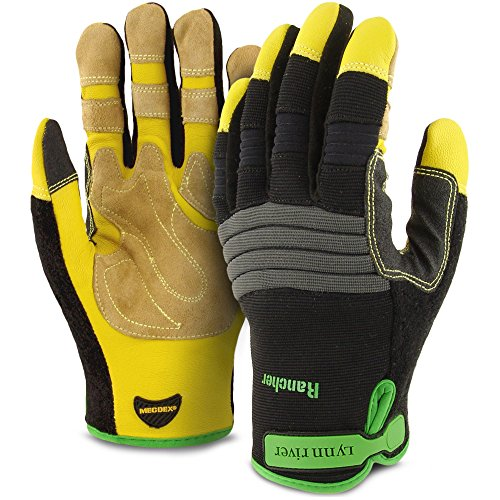 (Magnus-X Rancher Leather Work Gloves, Large, Tough Goat Skin Leather Palm with Breathable Spandex Back, High Dexterity, Comfortable Fit, Engineered For Performance. )