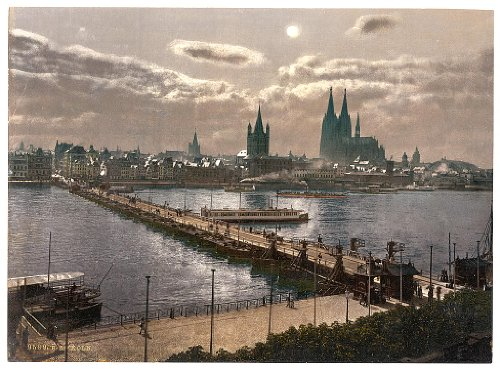 10 x 14 Antique Photochrome Image of: c. 1890 - 1906 General view, by moonlight, Cologne, the Rhine, Germany Professionally Reprinted