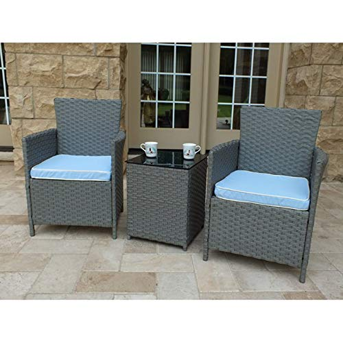 3 Piece Conversation Set with Cushions - Contemporary Seating Group Patio Furniture Set - 2 Chairs and Side Table (Gray)