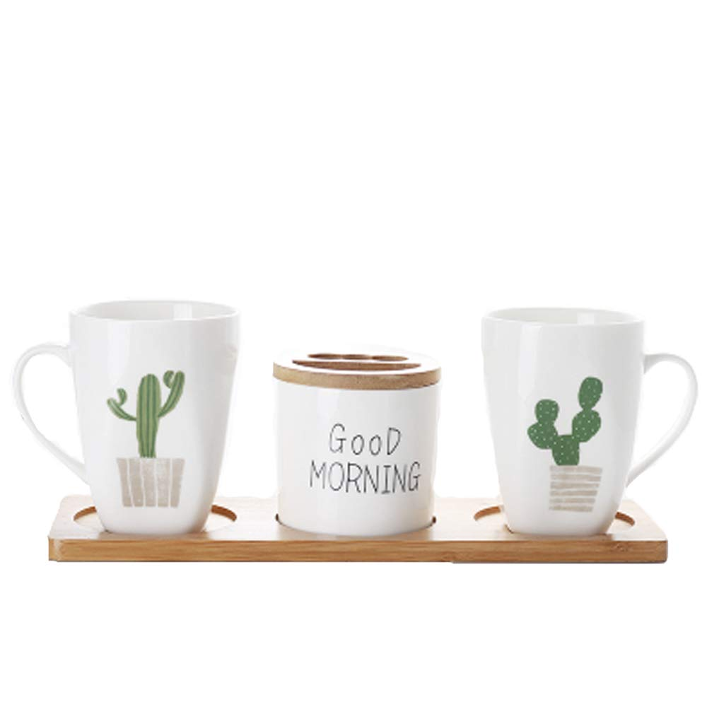 Elegant 4-Piece Ceramic Bathroom Accessory Set Including 2 Tumbler,1 Toothbrush Holder,1 Wood Tray,Green Cactus Bathroom Toiletries Accessory Set (Green Cactus(#4)) by Popular Bathroom Accessory Set (Image #1)