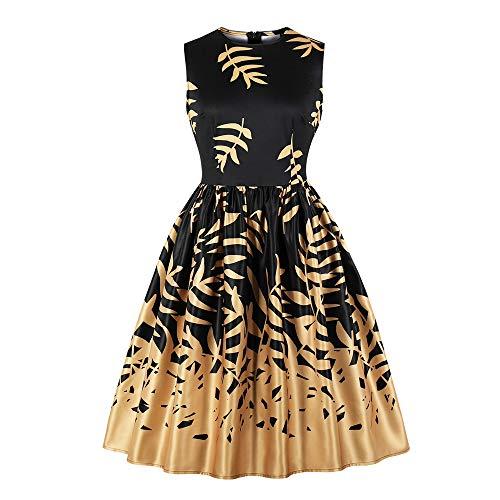 Lowprofile Retro Dress Women Gold Leaf Printing Midi Dress Vintage Sleeveless Tank Dress