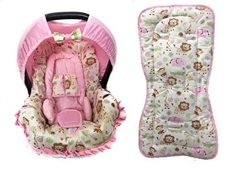 Conjunto De Capa Bebe Conforto E Capa De Carrinho E Acolchoado - Safari Elefante Rosa Alan Pierre Baby