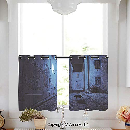 AmorFash Urban Printed Tier Curtains for Kitchen Pattern Short Window Curtains,2 Panels,W52 x L36-Inch,Black Cat Crossing Deserted Street at Night Mysterious Old European Town Alley