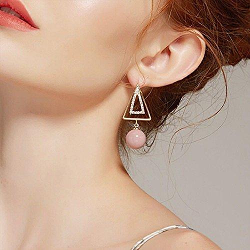 Geometric Filigree Diamond - JD Million shop 2017 Fashion Statement Geometric Earrings Simple Hollow Out Rhinestone Triangle Pink Ball Pendientes For Women Korean Jewelry
