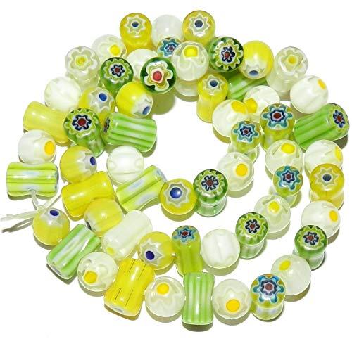 (Green Yellow White Single Flower 8mm Round Tube Millefiori Glass Beads #ID-134)