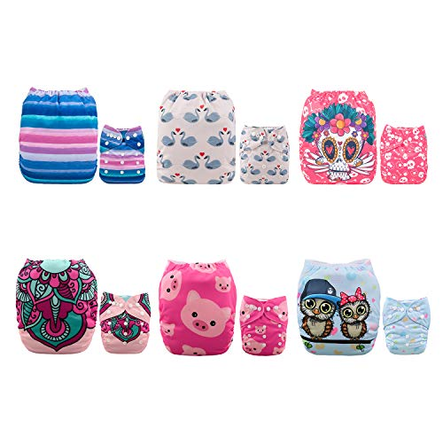 ALVABABY Baby Cloth Diapers 6 Pack with 12 Inserts Adjustable Washable and Reusable Pocket Dipaers for Baby Girls 6DM46