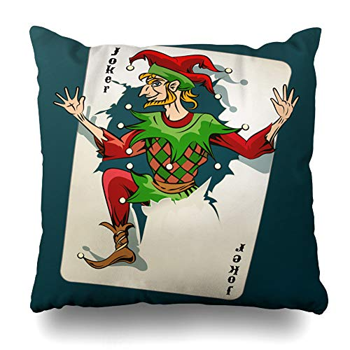 - Darkchocl Daily Decoration Throw Pillow Covers Joker Jumping Playing Card Blue Square Pillowcase Cushion for Couch Sofa or Bed Modern Quality Design Cotton and Polyester 18