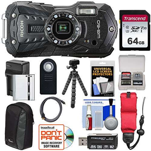 Ricoh WG-60 Waterproof/Shockproof Digital Camera (Black) with 64GB Card + Battery & Charger + Case + Tripod + Remote + Kit