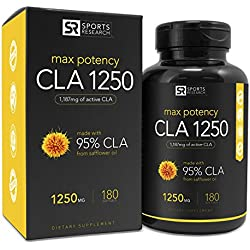 Max Potency CLA 1250 (180 Softgels) with 95% active Conjugated Linoleic Acid ~ Natural Weight loss Supplement for Men and Women ~ Made in USA