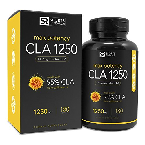 NEW! Max Potency CLA 1250 with 95% active Conjugated Lineolic Acid (CLA) per capsule. Natural Weightloss Supplement for Men and Women- 180 liquid softgels