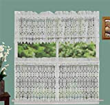 #8: Creative Linens Knitted Lace Kitchen Curtain Valance Tiers Ivory