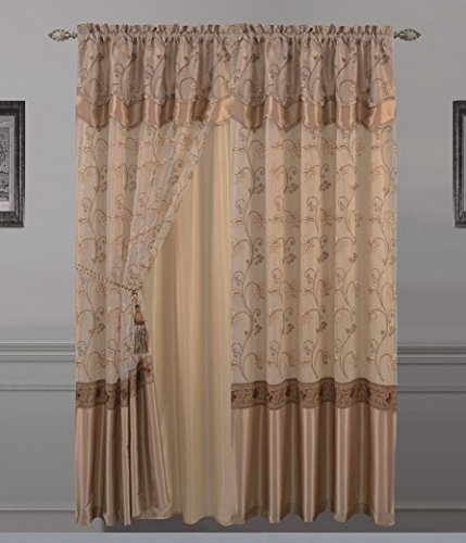 Attached Valance - All American Collection New 2 Panel Elegant Embroidered Curtain with Attached Valance