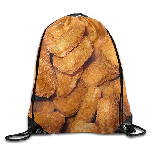 CUW BBCUW I Love Chicken Nuggets Classic Drawstring Backpack Workout Sackpack For Men & Women School Travel Bag by CUW BBCUW