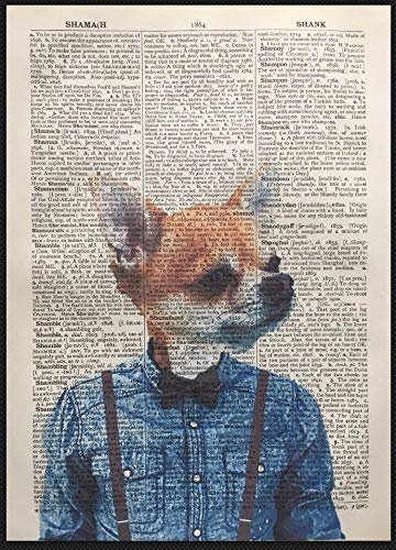 Parksmoonprints Chihuahua Print Vintage Dictionary Page Wall Art Picture Dog Animal Denim Shirt