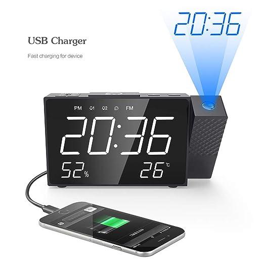 Cqing Despertador de la proyección con Radio FM, Pantalla LED ...