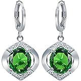 Sumanee Fashion Women 925 Silver Emerald Stud Drop Dangle Earring Wedding Jewelry New