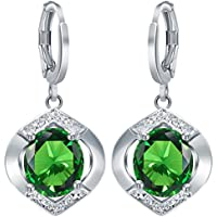 Siam panva Women 925 Silver Emerald Dangle Drop Hook Earrings Bridal Engagement Jewelry