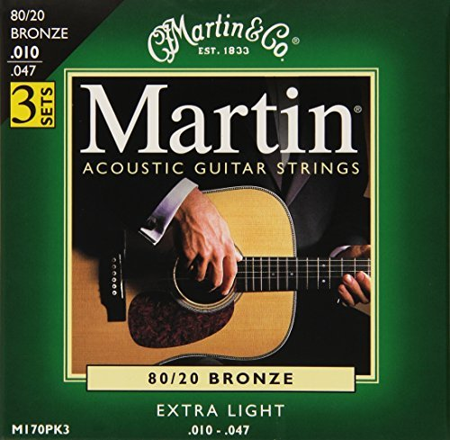 Martin M170 80/20 Acoustic Guitar Strings, Extra Light 3 Pack by Martin (Image #2)