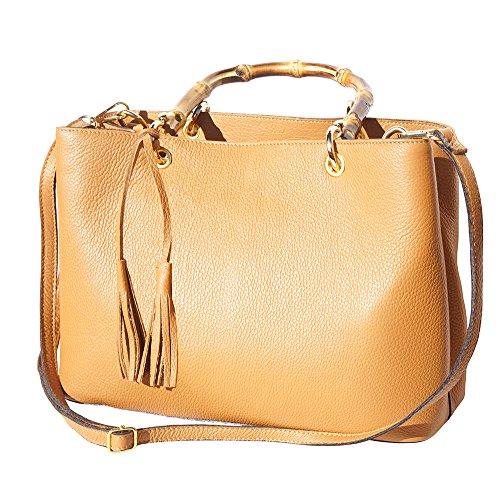 """Florence Piel Con Marron Bambú De """"veronica Bolso Claro Market Asas Leather 9139 THZxT"""