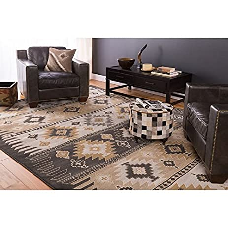 Meticulously Stunning Woven Black/Grey Rustic Southwestern Aztec Nomad Area  Rug (7u00279