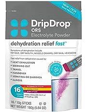 DripDrop ORS Electrolyte Hydration Powder Sticks Variety Pack (5 Lemon/6 Berry/5 Watermelon) 10g Sticks, 16 Count
