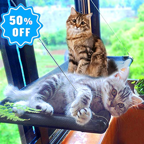 Cat Bed Window Perch Hammock Sunny Seat for Larger Cats Perches Window Mounted Cat Beds Two Kitty Window Seat Animal Pet Kitten Cot Beds Heavy Duty 4 Suction Cups Holds Up to 60lbs -