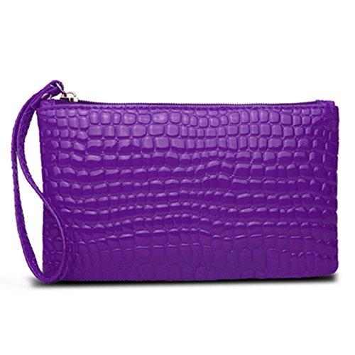 HuntGold 1 X Frauen Tragbare Alligator Textur Wallet Reißverschluss Handtasche Handtasche Geldbörse (violett)