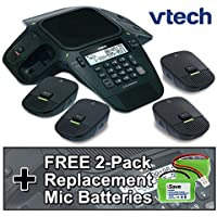 VTech VCS704 ErisStation Conference Phone Includes 2 Fixed Microphones and 4 DECT 6.0 Wireless Microphones with Orbitlink Wireless Technology