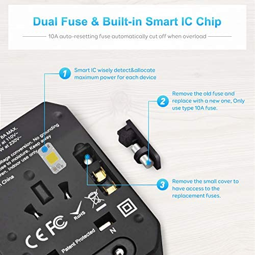 Adaptador Enchufe De Viaje Universal Negro Maxcio Cargador Internacional Seguridad de Fusibles con 4 Puertos USB y 1 Puerto Tipo C para US UK EU AUS Acerca de 150 Pa/íses