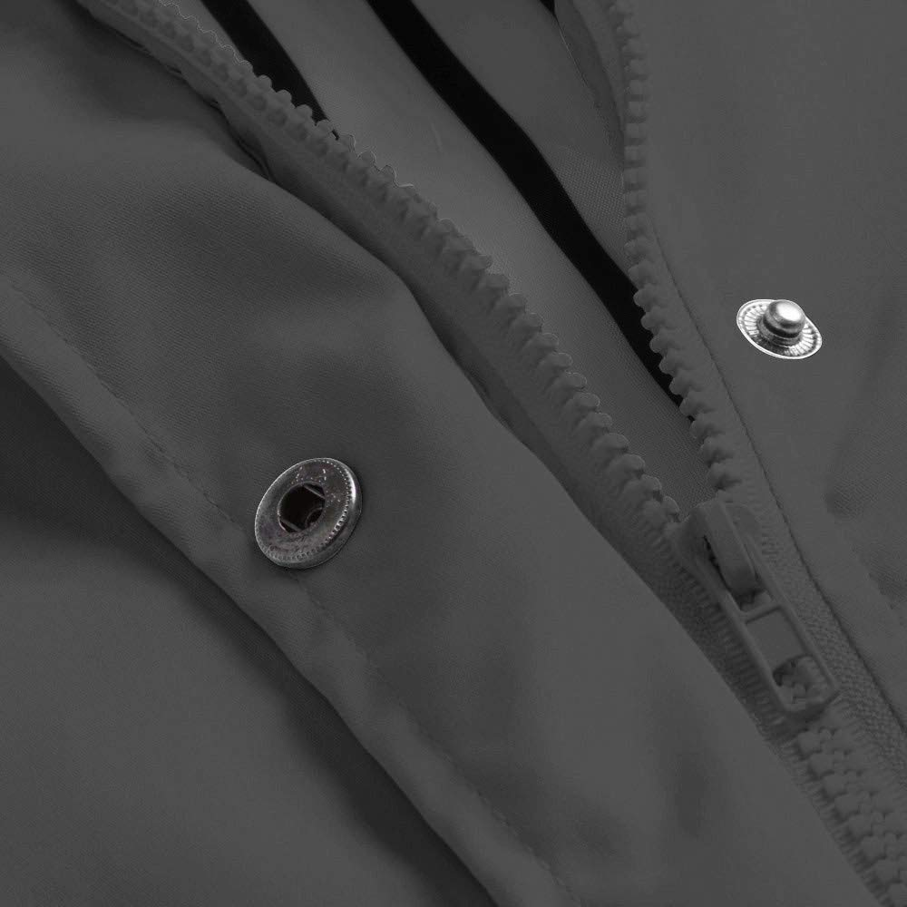 Skang Manteaux Imperméables, Femmes Grande Taille Longue ImperméAble à Capuche Solide Chaud Vestes Coupe-Vent Outwear avec Poche S-5XL Gris