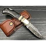 Ash nw4 damascus steel custom handmade skinner Folding knife
