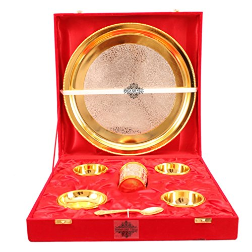 Indian Art Villa 7 Piece Silver Plated Gold Polish Dinner Set - 1 Dinner Plate 3 Bowl 1 Rice Plate1 Glass & 1 Spoon - Home Hotel Restaurant Decorative Gift ()