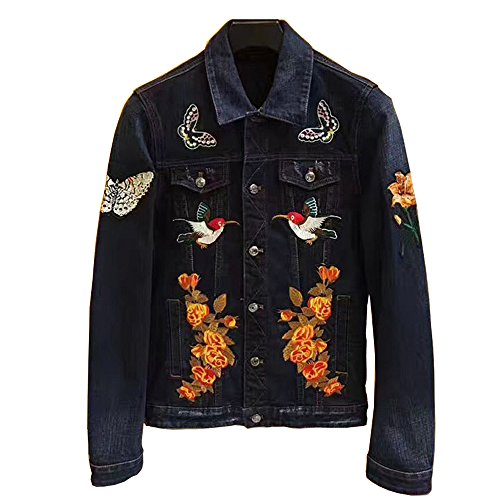 ECTIC New Men 100% Cotton Embroidered tiger Denim Jacket Casual Coats TB (Blue, XXL) (Embroidered Cotton Jacket)