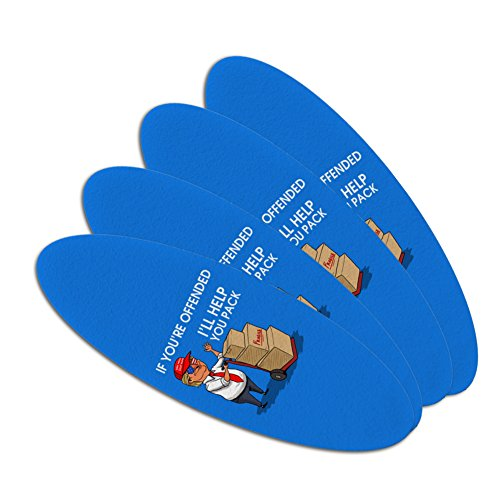 Political Emery Boards - Trump Offended Help You Pack Republican Funny Double-Sided Oval Nail File Emery Board Set 4 Pack