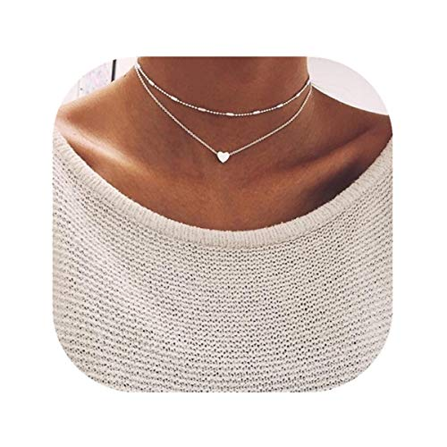 Anqifull Dainty Layered Gold Chocker Handmade Beads Fill Heart White Opal Necklace for Women Girls 012