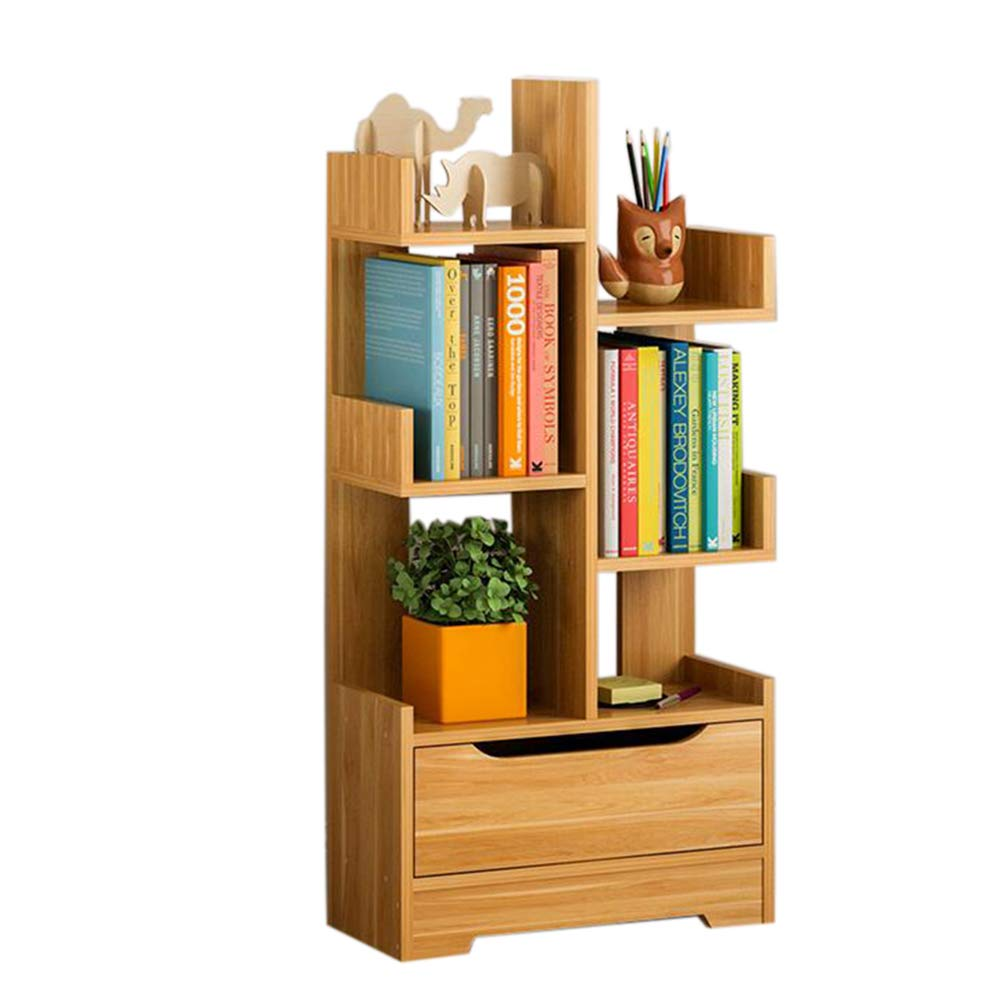 Wood 18.707.8740.94in JCAFA Shelves H-Shaped Bookshelf Storage Rack Bookcase Display Stand 7-Layer Storage Save Space Arched Base with Drawer (color   White, Size   17.91  8.26  37.20in)