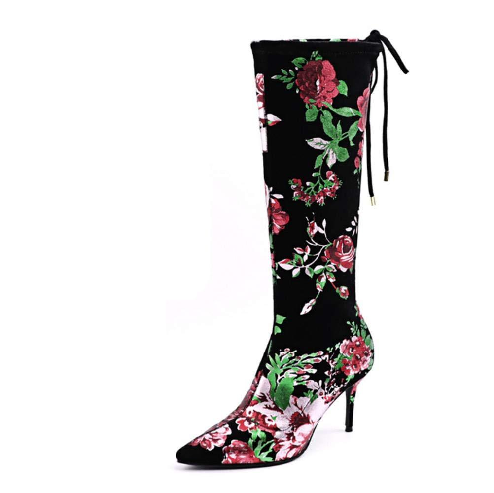 NVXUEZIX Damen Schuhe Stretch - Satin Frühling Herbst Komfort Neuheit Modische Stiefel Stiefel Spitze Zehe Mittelhohe Stiefel Applikation Für
