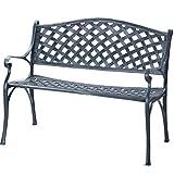 Merax Outdoor Garden Bench Park Bench Chair Cast Aluminum (Bronze Finish)