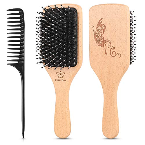 Hair Brush Boar Bristle Hairbrush for Thick Curly Thin Long Short Wet or Dry Hair Adds Shine and Makes Hair Smooth, Best Paddle Hair Brush for Men Women Kids (Boars Shower Brush Hair)