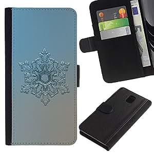 """Samsung Galaxy Note 3 III N9000 N9002 N9005 , la tarjeta de Crédito Slots PU Funda de cuero Monedero caso cubierta de piel ("""" Snowflake Art Winter Cold Blue Ice Frost Silver"""")"""