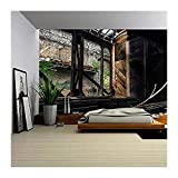 wall26 - Some Trains at Abandoned Train Depot - Removable Wall Mural | Self-adhesive Large Wallpaper - 100x144 inches